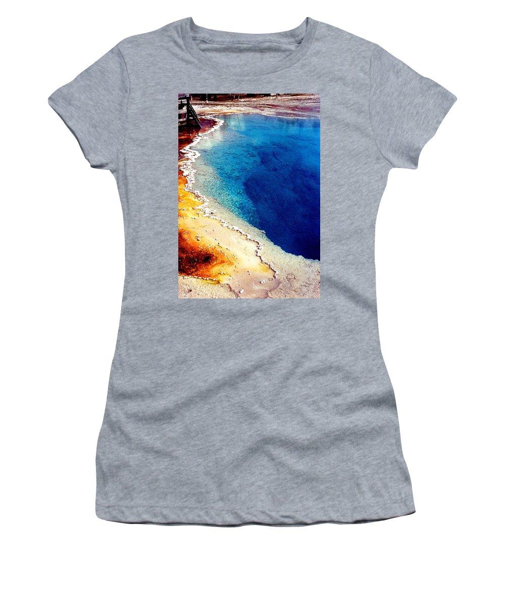 Geyser Women's T-Shirt featuring the photograph Geyser Basin by Nancy Mueller