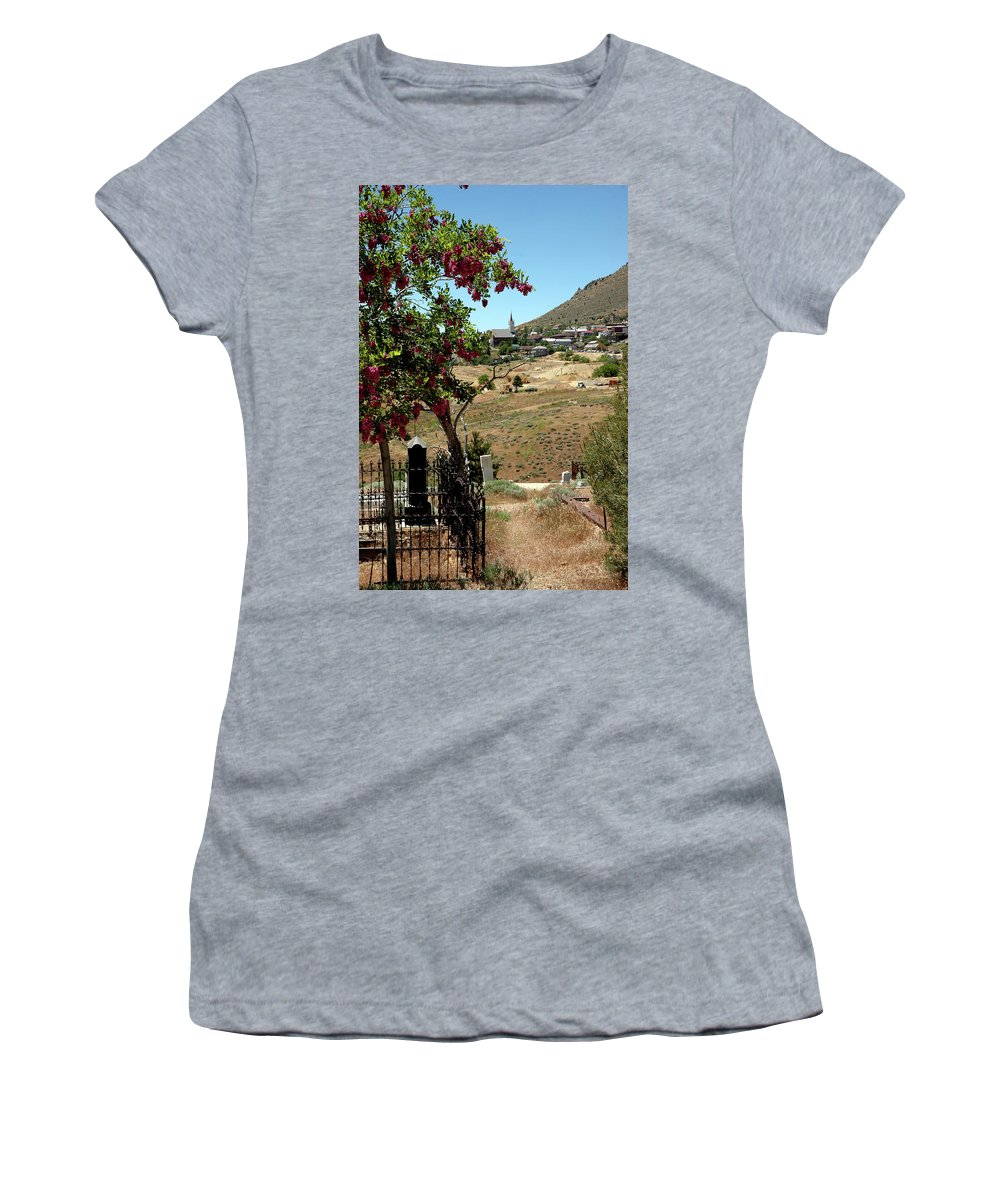 Usa Women's T-Shirt featuring the photograph Ghosts Path To A Ghost Town Virginia City Nv by LeeAnn McLaneGoetz McLaneGoetzStudioLLCcom