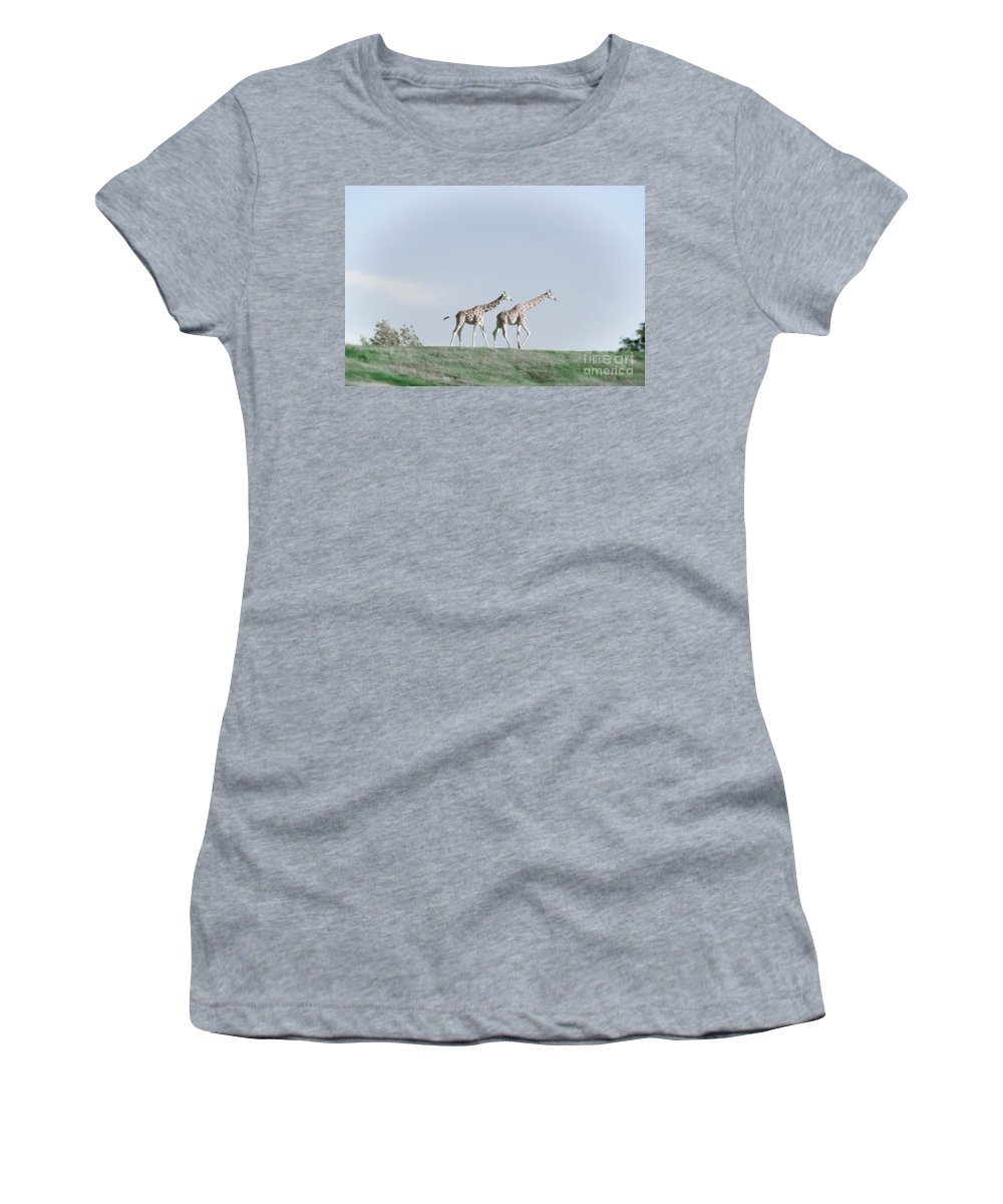 Giraffe Women's T-Shirt (Athletic Fit) featuring the photograph Giraffe Pair On Hill by Jim And Emily Bush
