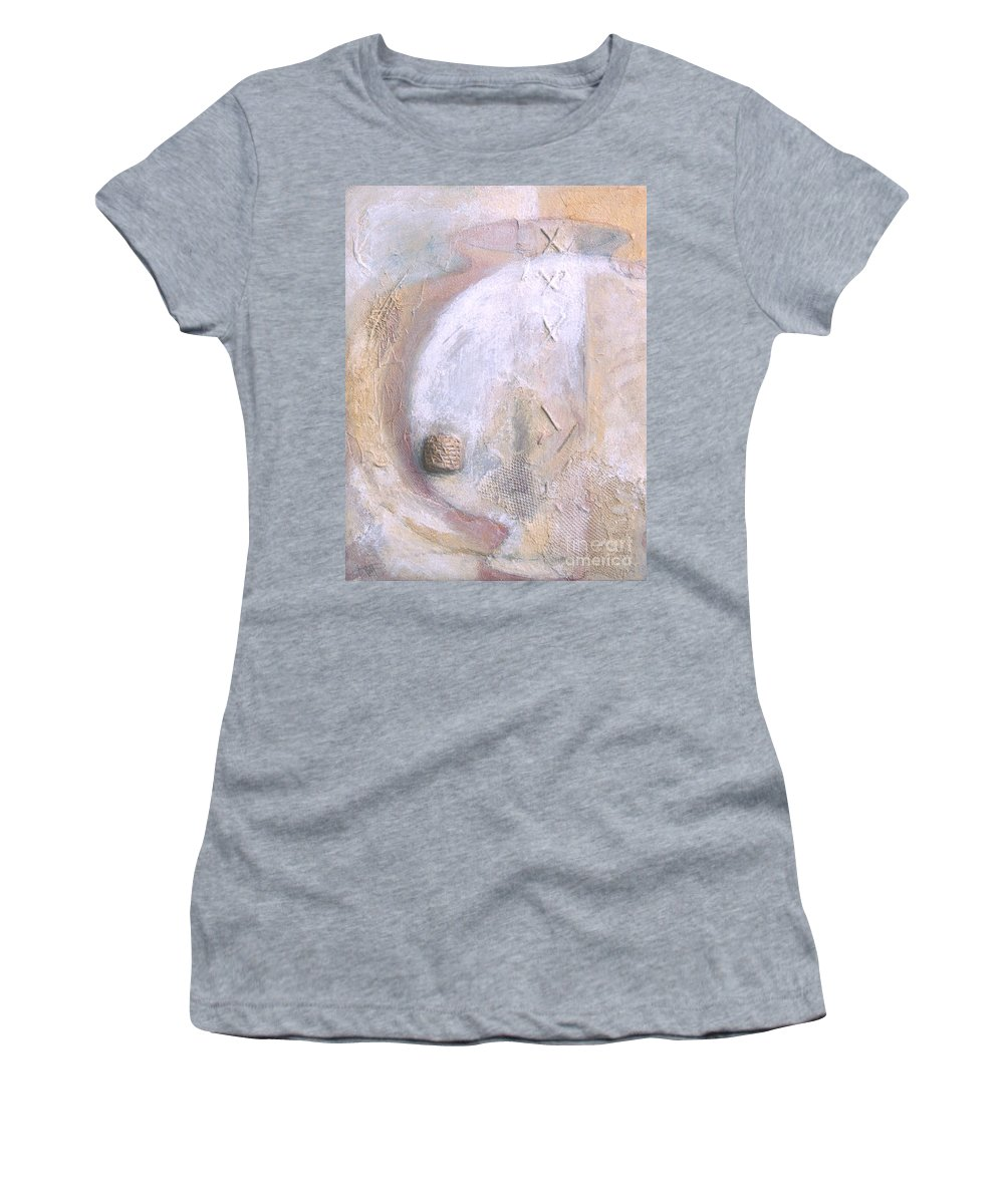 Collage Women's T-Shirt featuring the painting Give And Receive by Kerryn Madsen-Pietsch