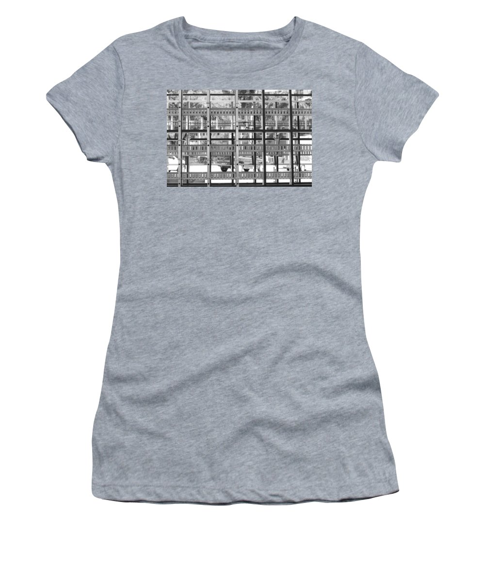 Black And White Women's T-Shirt (Athletic Fit) featuring the photograph Glass Holders by Rob Hans