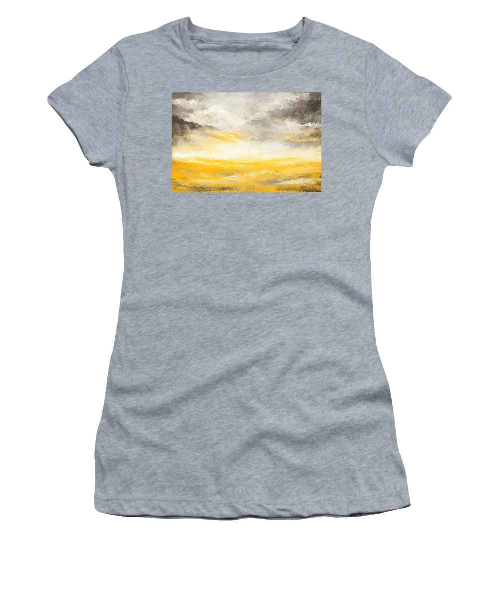 Yellow Women's T-Shirt featuring the painting Gloomy Sunny Day by Lourry Legarde