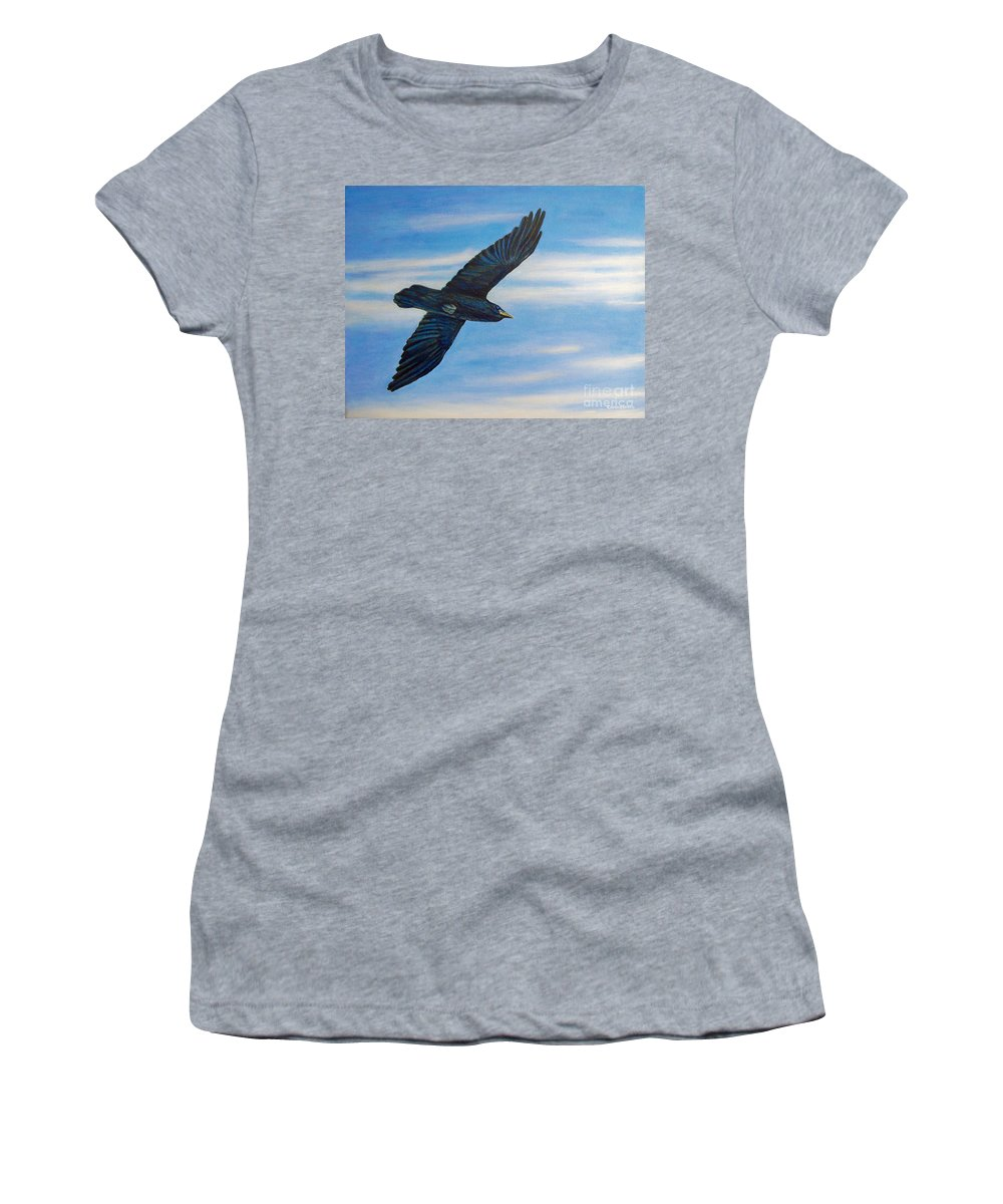 Bird Women's T-Shirt (Athletic Fit) featuring the painting Going Home by Brian Commerford