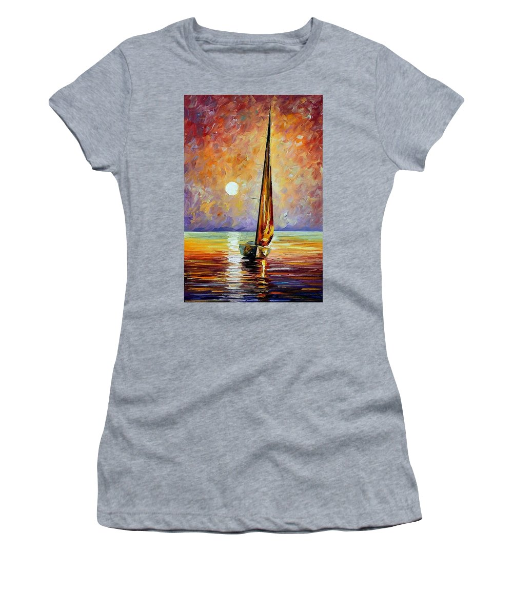 Afremov Women's T-Shirt (Athletic Fit) featuring the painting Gold Sail by Leonid Afremov