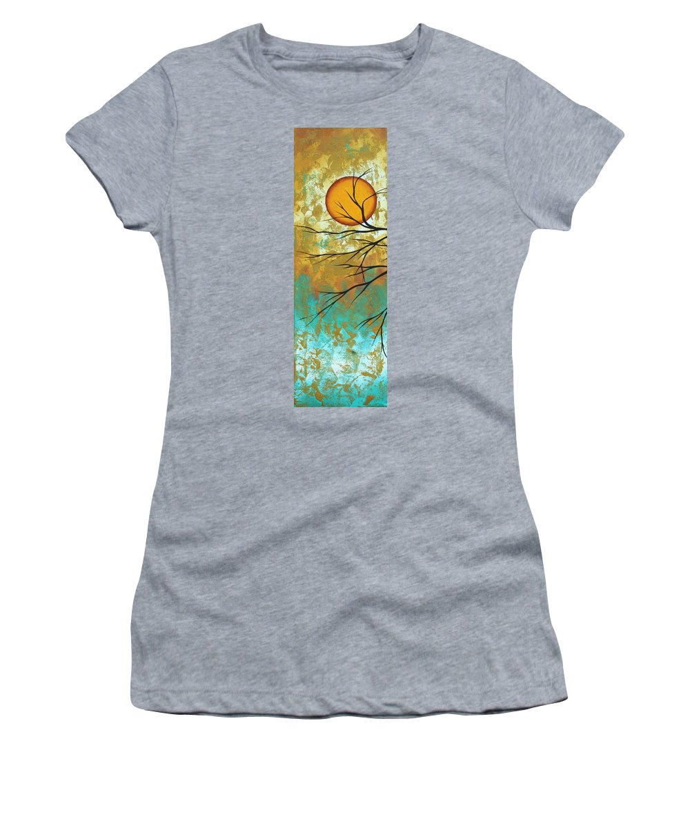 Painting Women's T-Shirt featuring the painting Golden Fascination 1 by Megan Duncanson