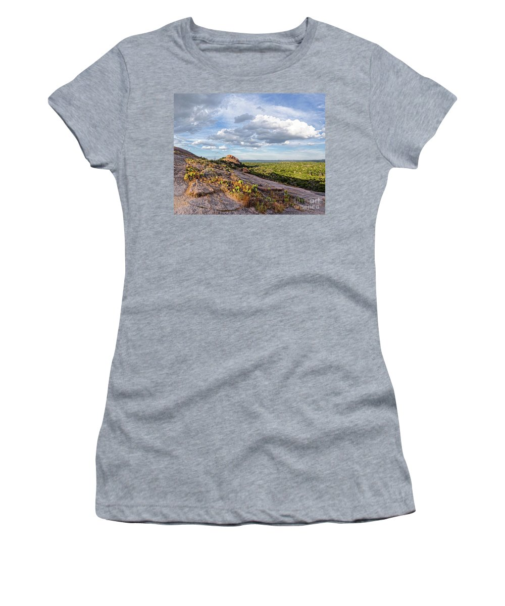 Central Women's T-Shirt (Athletic Fit) featuring the photograph Golden Hour Light On Turkey Peak And Prickly Pear Cacti - Enchanted Rock Fredericksburg Hill Country by Silvio Ligutti