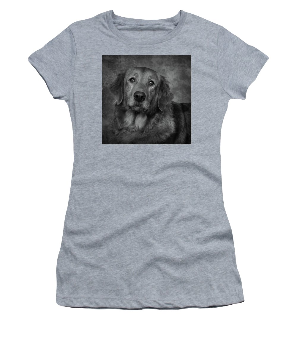 Dog Women's T-Shirt (Athletic Fit) featuring the photograph Golden Retriever In Black And White by Greg Mimbs