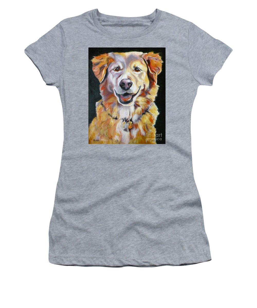 Dogs Women's T-Shirt (Athletic Fit) featuring the painting Golden Retriever Most Huggable by Susan A Becker