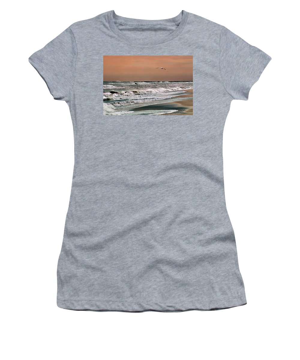 Seascape Women's T-Shirt (Athletic Fit) featuring the photograph Golden Shore by Steve Karol
