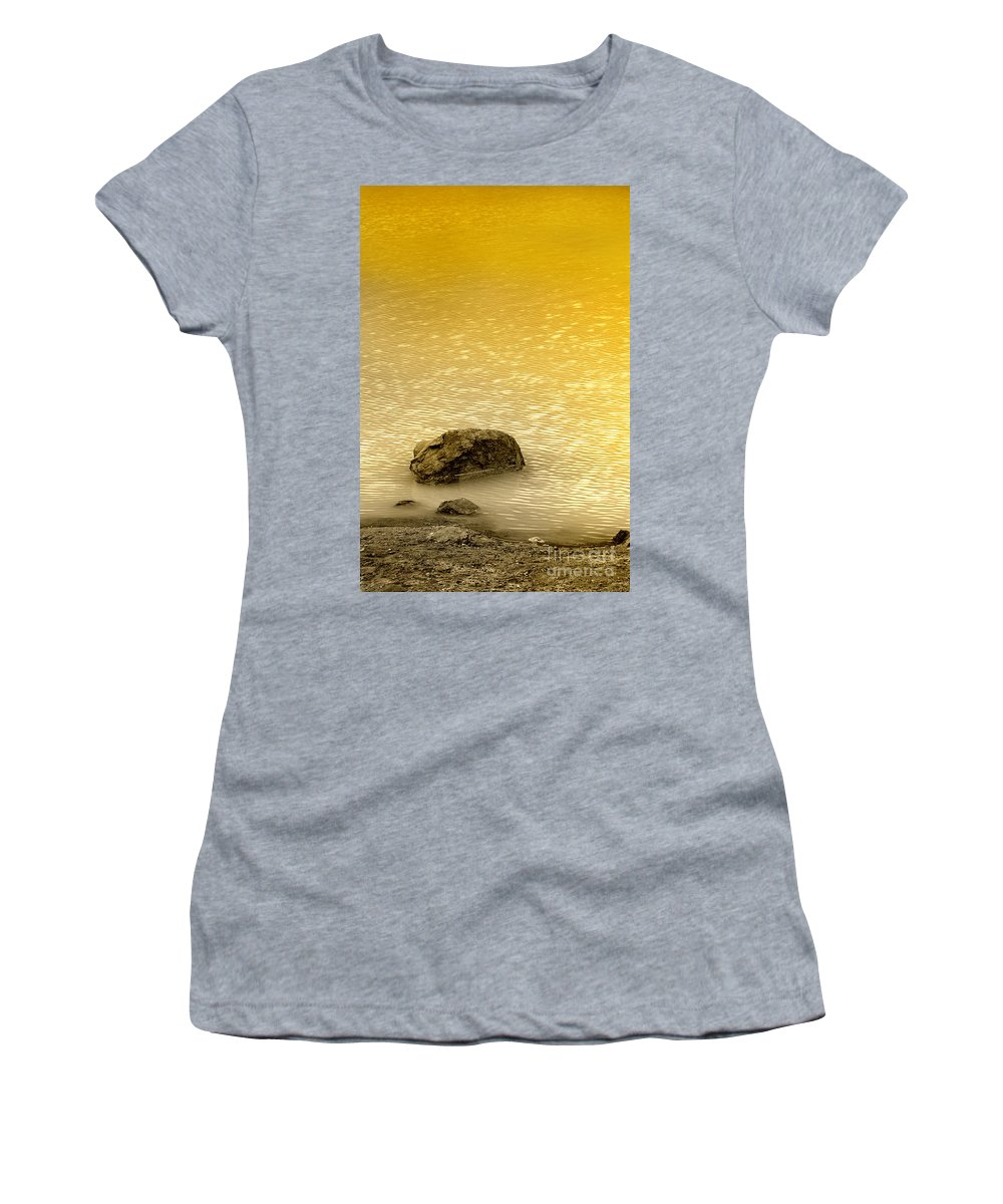 Water Women's T-Shirt featuring the photograph Golden Silence by Charuhas Images