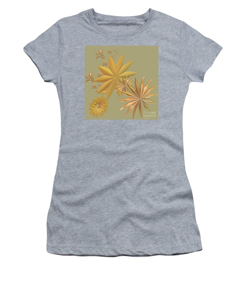 Stars Women's T-Shirt featuring the digital art Golden Stars by Deborah Benoit
