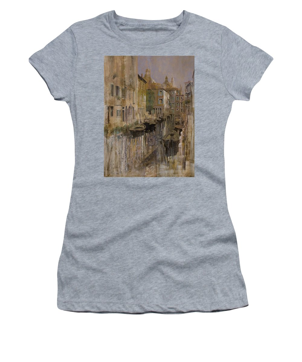 Venice Women's T-Shirt (Athletic Fit) featuring the painting Golden Venice by Guido Borelli