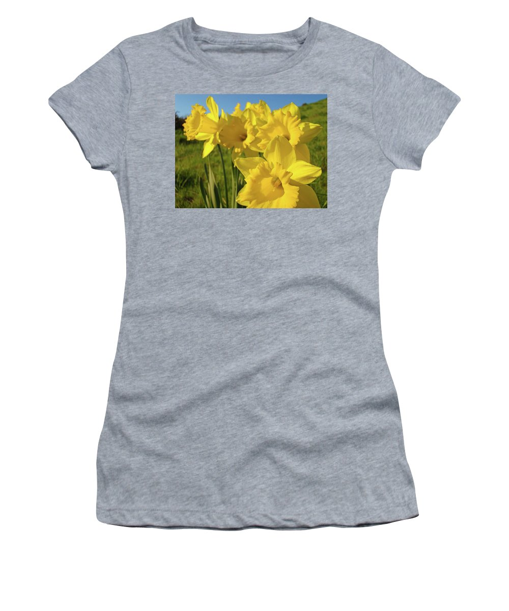 Landscape Women's T-Shirt (Athletic Fit) featuring the photograph Golden Yellow Daffodil Flower Garden Art Prints Baslee Troutman by Baslee Troutman
