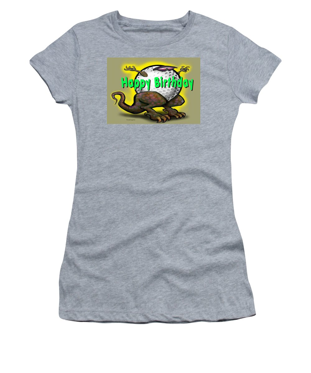 Golf Women's T-Shirt (Athletic Fit) featuring the greeting card Golf A Saurus Birthday by Kevin Middleton