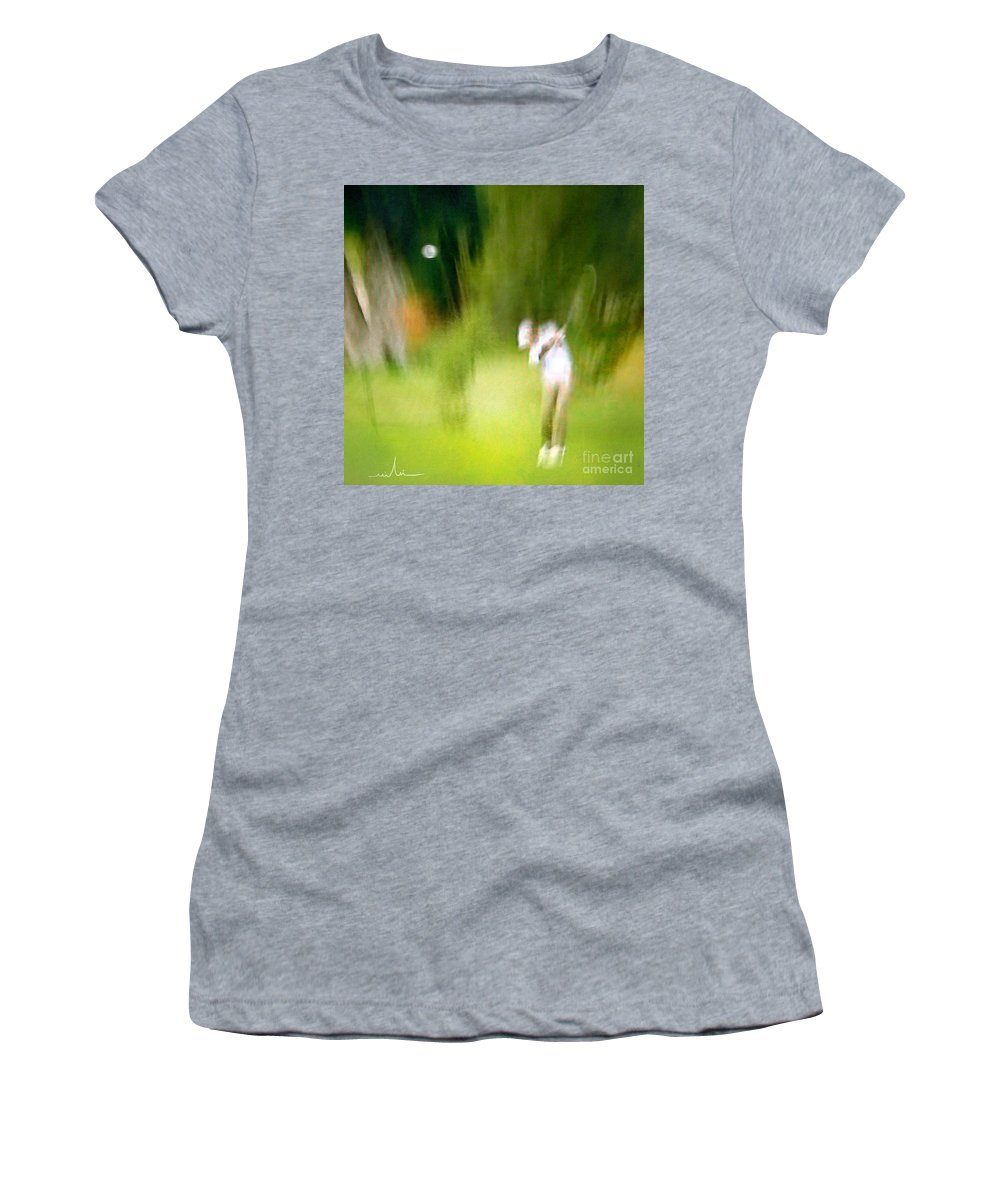 Golf Women's T-Shirt (Athletic Fit) featuring the painting Golf At The Blue Monster In Doral Florida 01 by Miki De Goodaboom