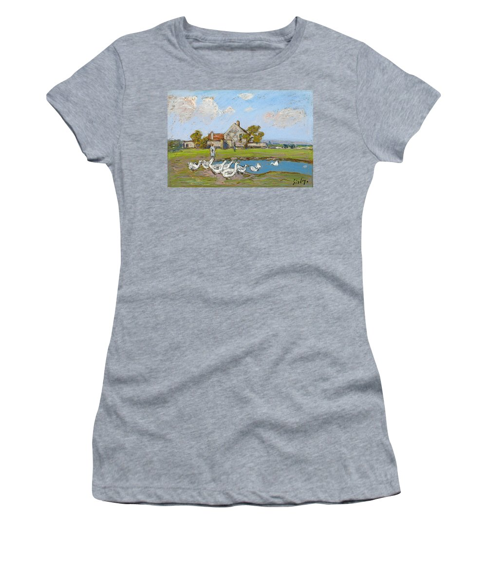 Alfred Sisley Women's T-Shirt featuring the drawing Goose Girl At Sablons by Alfred Sisley