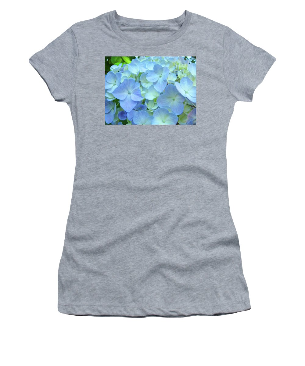 Gorgeous Women's T-Shirt featuring the photograph Gorgeous Blue Colorful Floral Art Hydrangea Flowers Baslee Troutman by Baslee Troutman