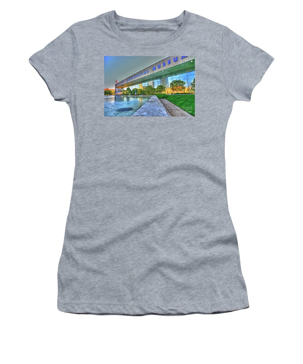 Gerald R. Ford Presidential Museum Women's T-Shirt featuring the photograph Grand Rapids Mi- 16 Hdr by Robert Pearson