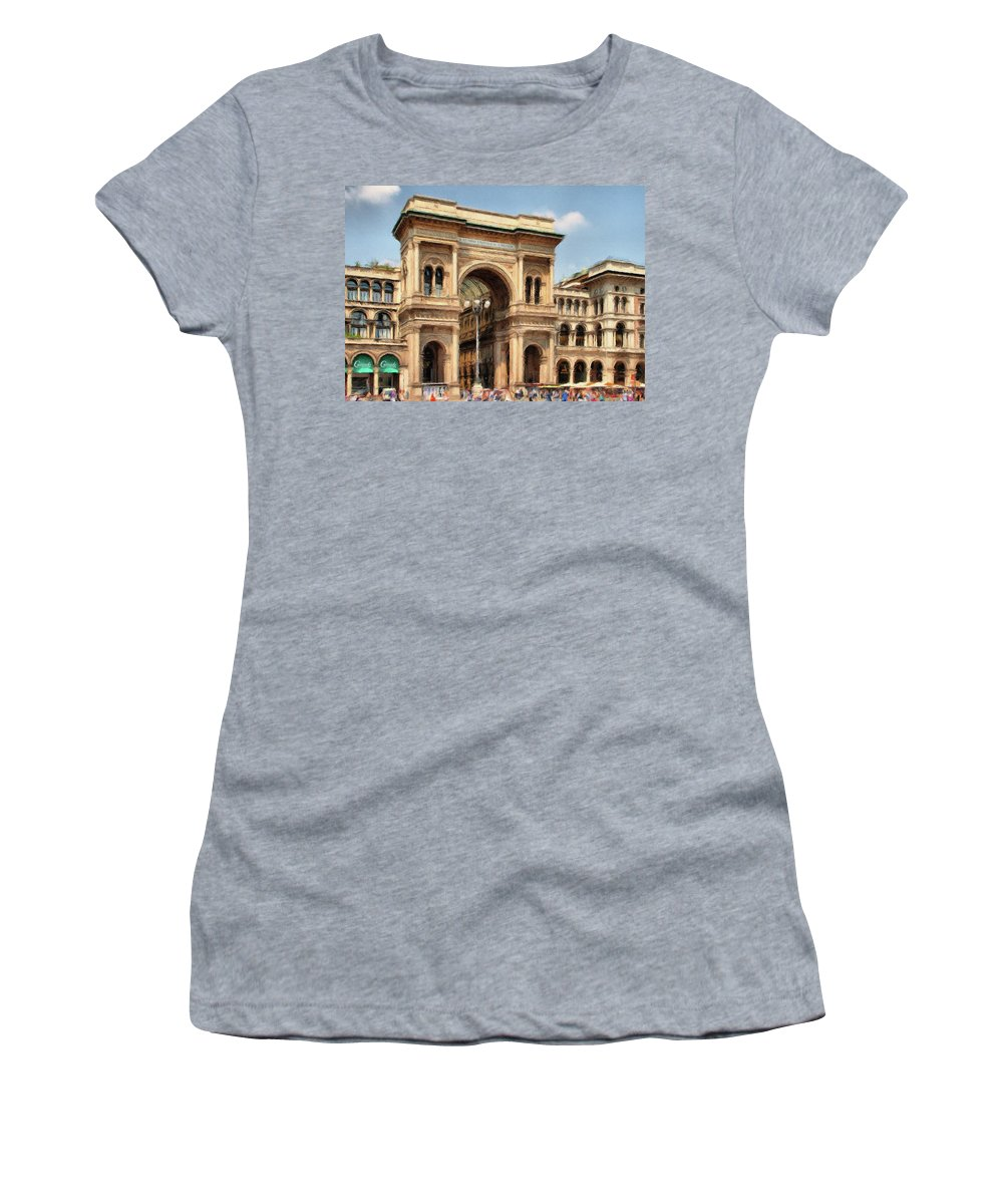 Mall Women's T-Shirt (Athletic Fit) featuring the painting Grande Ingresso by Jeffrey Kolker