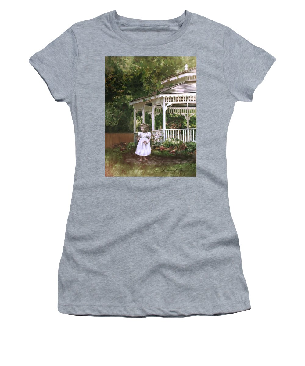 Child Women's T-Shirt (Athletic Fit) featuring the painting Grandma's Flowers by Bonnie Willis