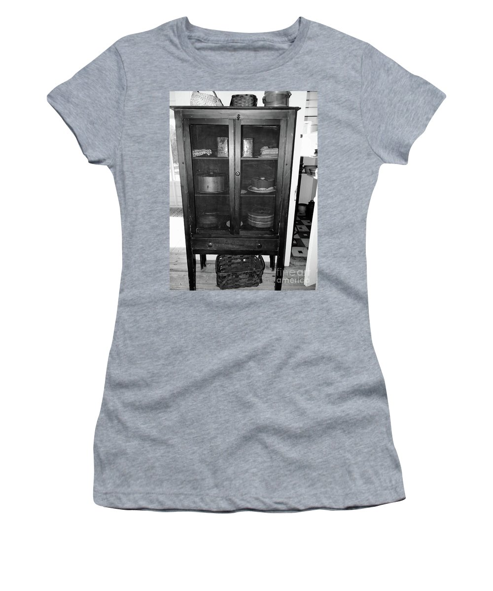 Pie Safe Women's T-Shirt featuring the photograph Grandma's Pie Safe B W by D Hackett