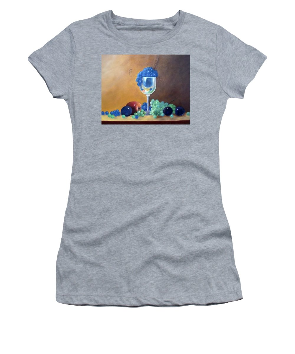 Wine Galsses With Grapes Women's T-Shirt featuring the painting Grapes And Plums by Susan Dehlinger