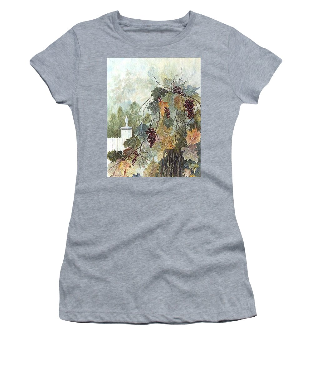 Fruit Women's T-Shirt featuring the painting Grapevine Topiary by Ben Kiger