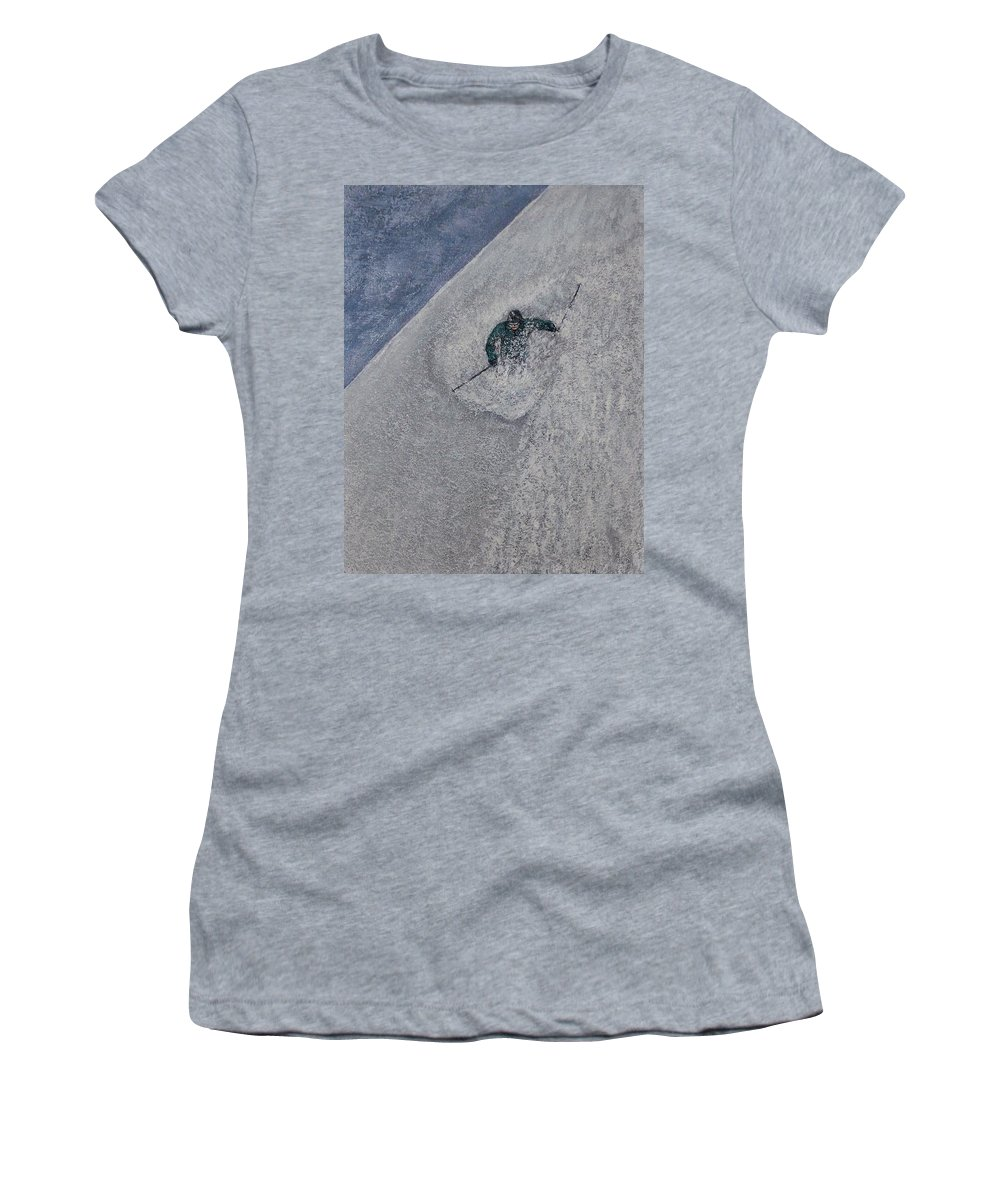Ski Women's T-Shirt (Athletic Fit) featuring the painting Gravity by Michael Cuozzo