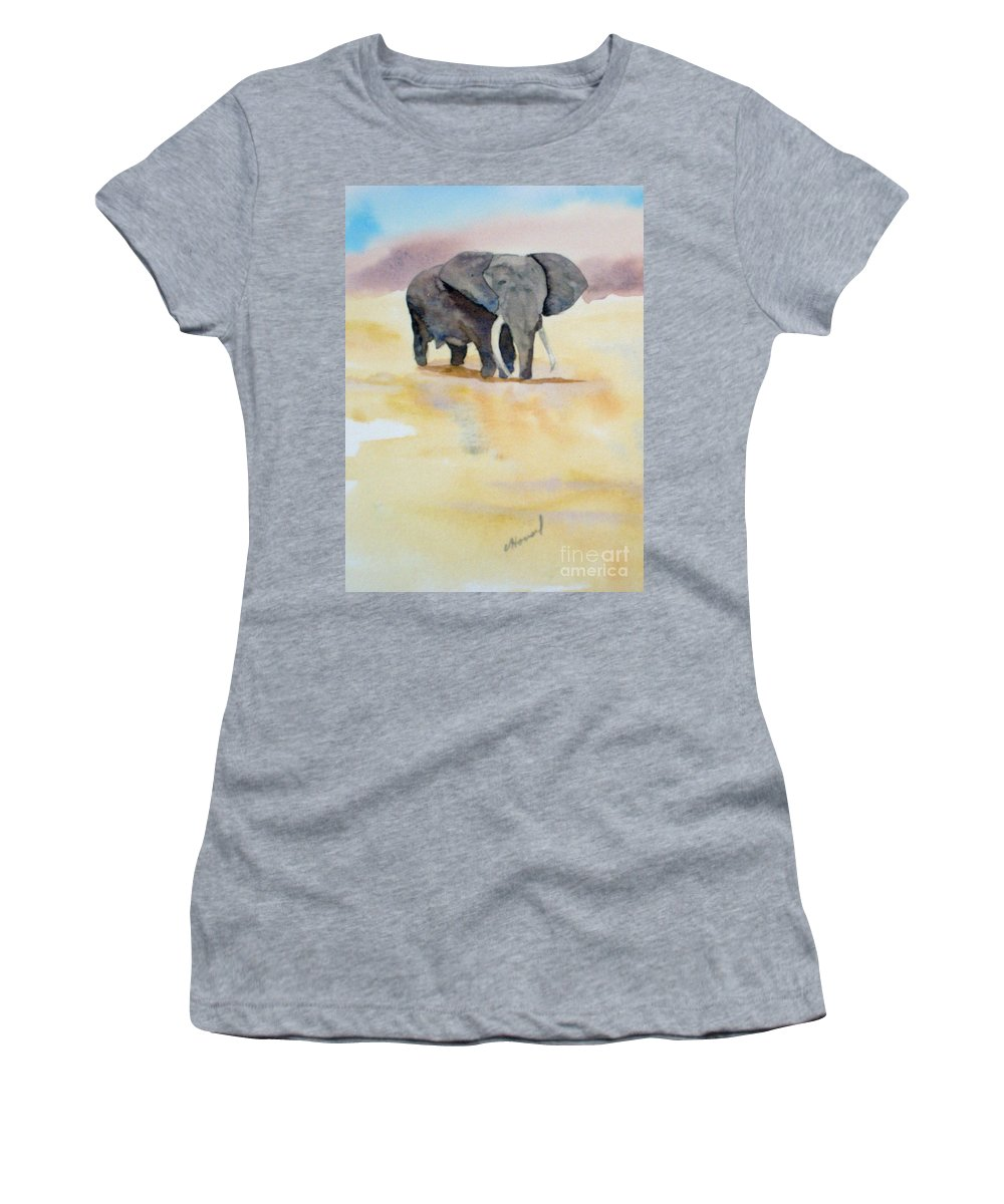 Elephant Women's T-Shirt (Athletic Fit) featuring the painting Great African Elephant by Vicki Housel