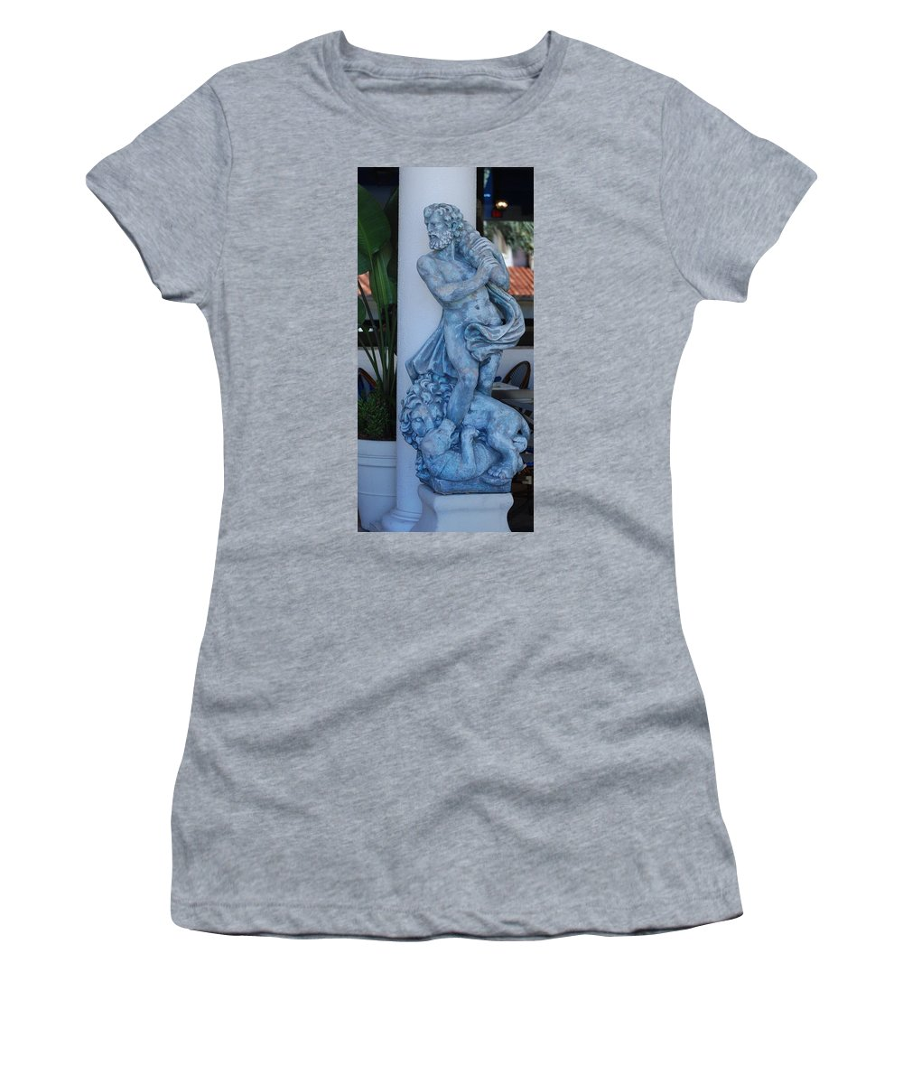 Statue Women's T-Shirt featuring the photograph Greek Dude And Lion In Blue by Rob Hans