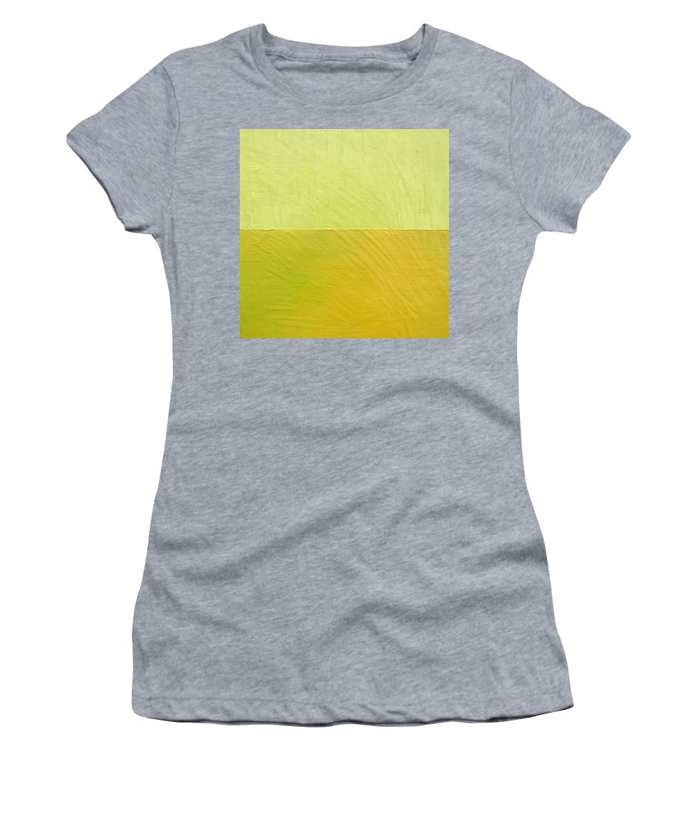 Pea Women's T-Shirt (Athletic Fit) featuring the painting Green And Greenish by Michelle Calkins