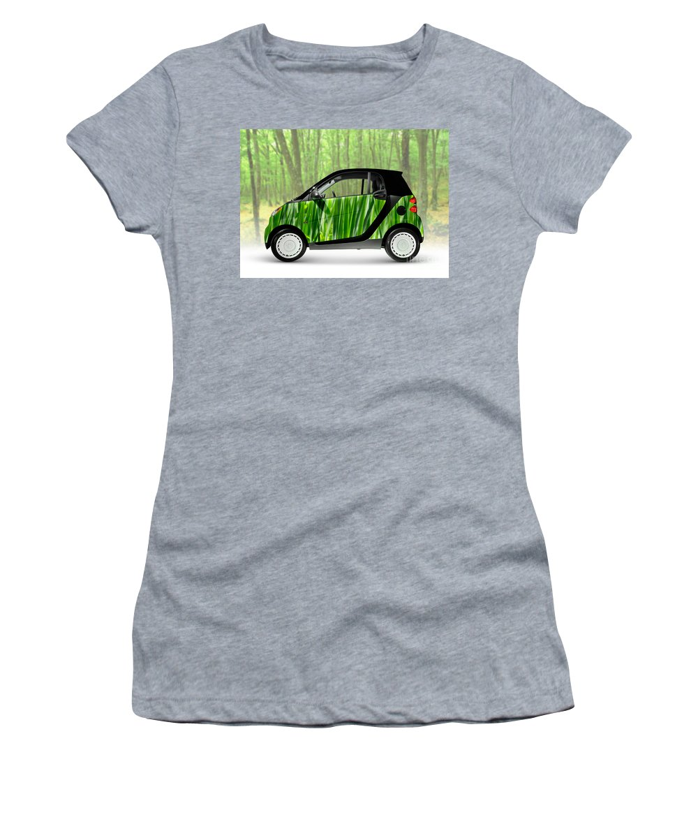 Smart Women's T-Shirt (Athletic Fit) featuring the photograph Green Mini Car by Oleksiy Maksymenko