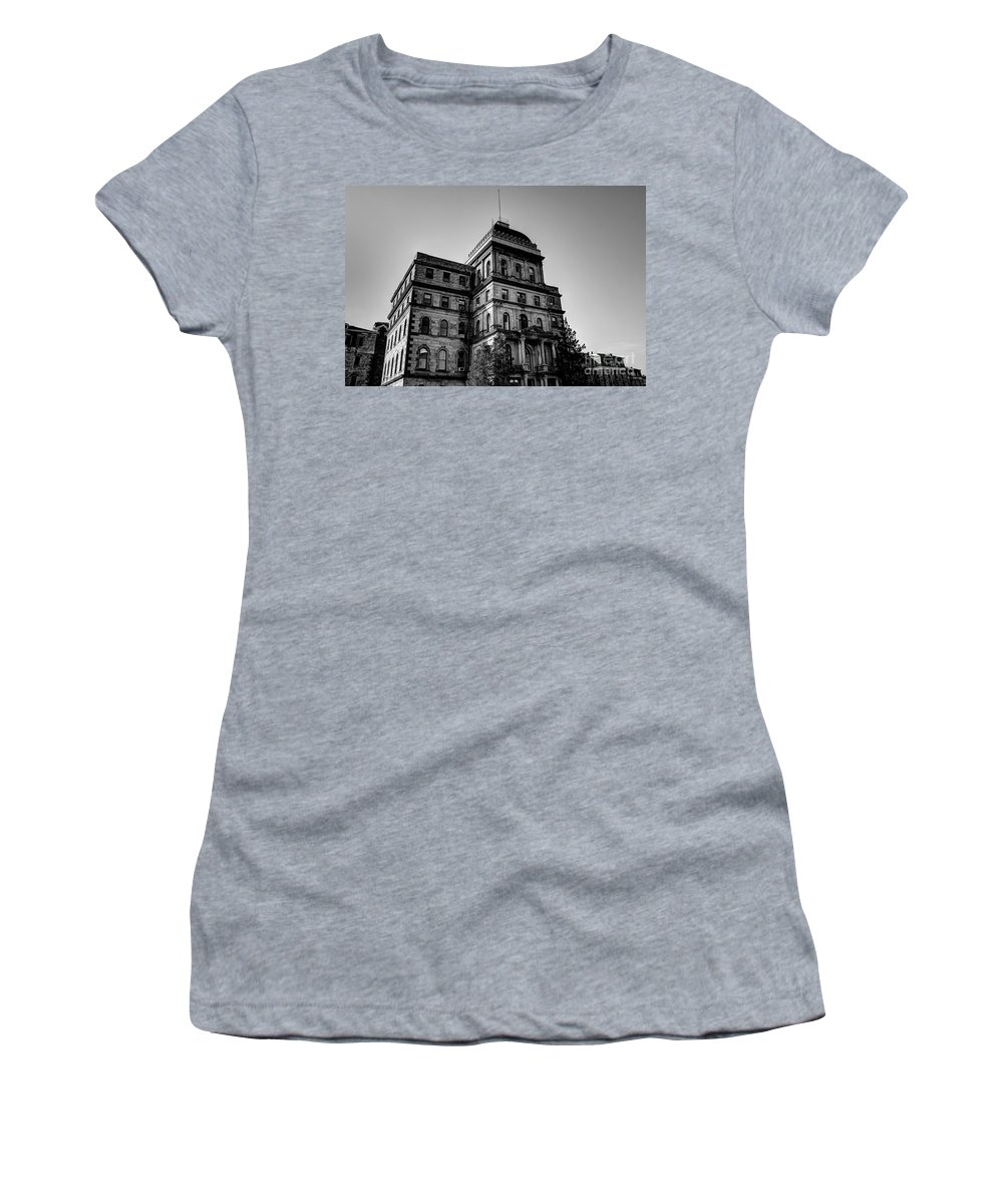 Greystone Women's T-Shirt (Athletic Fit) featuring the photograph Greystone - Kirkbride Building by Jeffrey Miklush