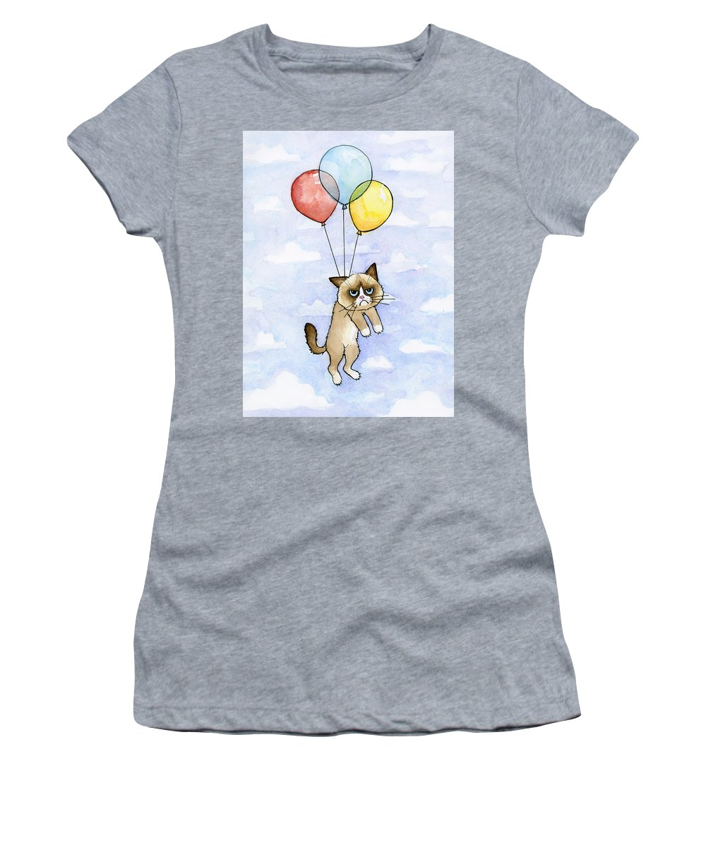 Grumpy Women's T-Shirt featuring the painting Grumpy Cat and Balloons by Olga Shvartsur