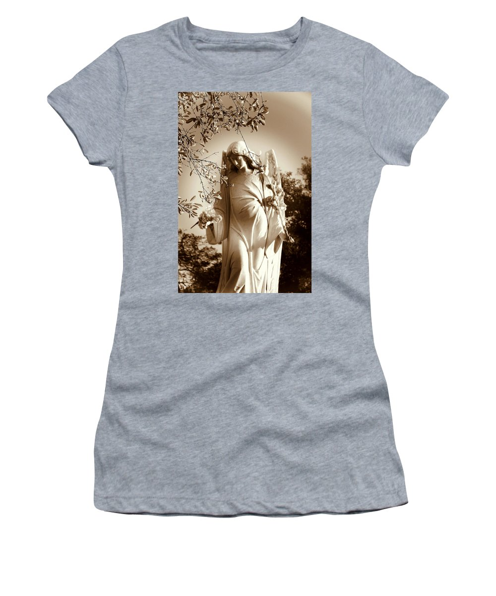 Angel Women's T-Shirt (Athletic Fit) featuring the photograph Guardian Angel Bw by Susanne Van Hulst