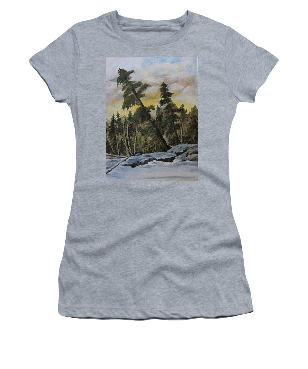 Landscape Women's T-Shirt featuring the painting Gunflint Winter by Joi Electa