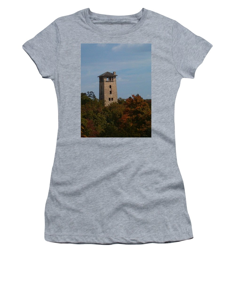 Water Tower Women's T-Shirt (Athletic Fit) featuring the photograph Ha Ha Tonka Water Tower by Sara Raber