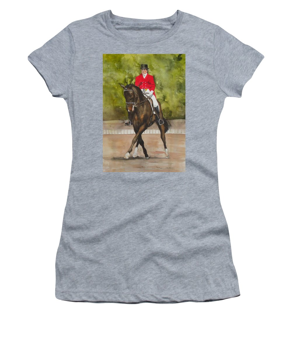 Horse Women's T-Shirt featuring the painting Half-Pass To The Right by Jean Blackmer