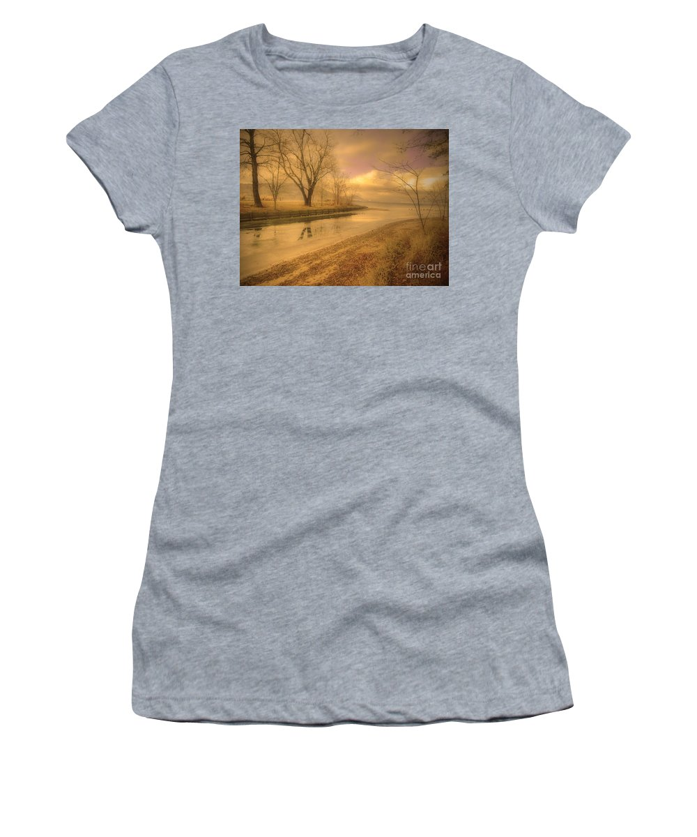 Lake Women's T-Shirt (Athletic Fit) featuring the photograph Half Reflections by Tara Turner