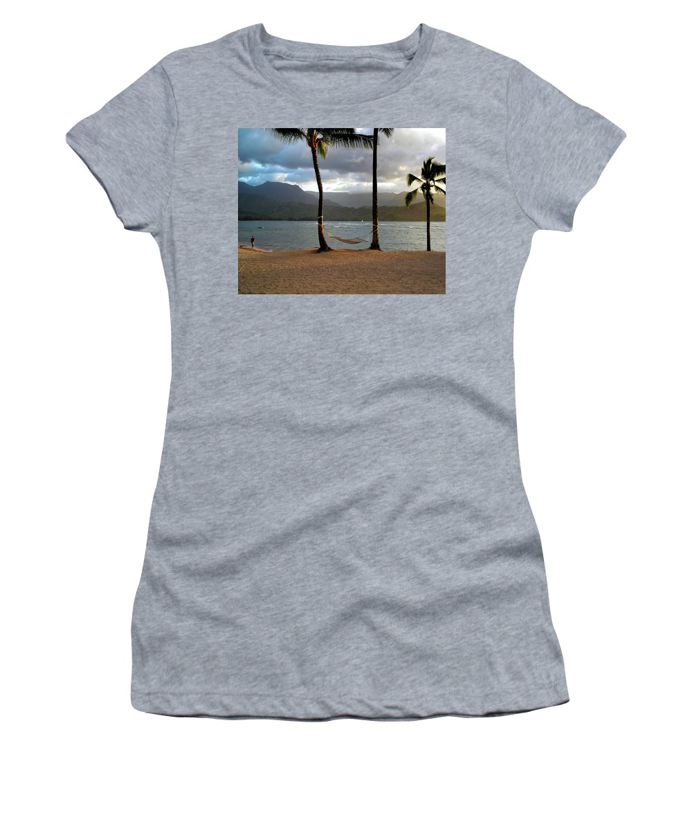 Hammock Women's T-Shirt (Athletic Fit) featuring the photograph Hammock At Hanalei Bay by James Eddy