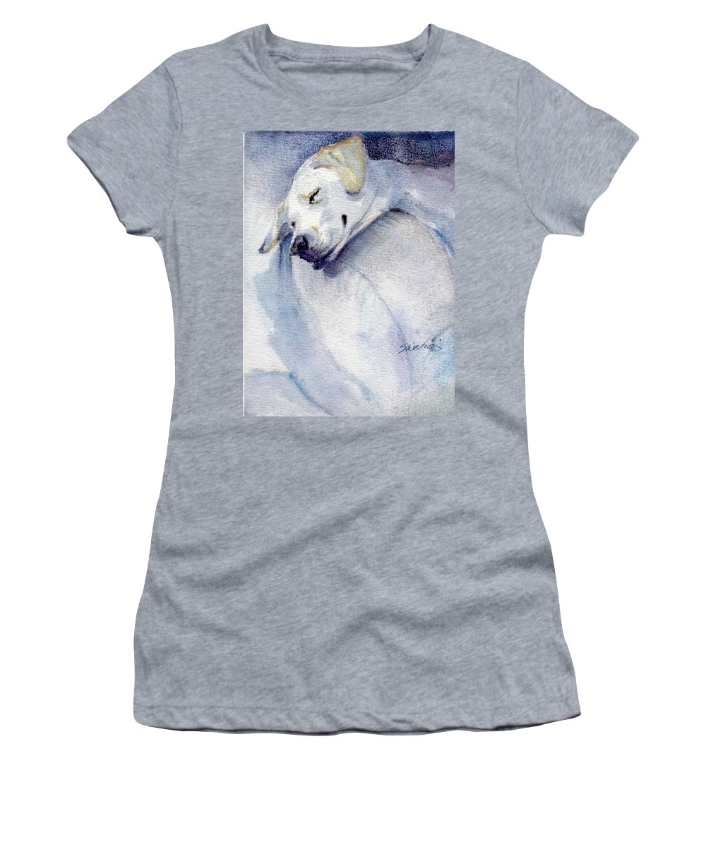 Yellow Lab Women's T-Shirt (Athletic Fit) featuring the painting Hangin' Out by Sheila Wedegis