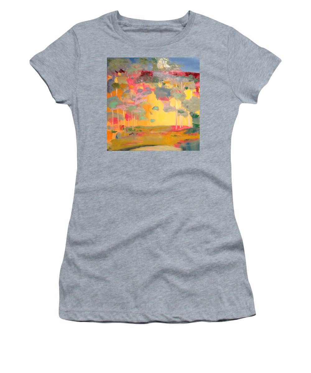 Landscape Women's T-Shirt (Athletic Fit) featuring the painting Hannah's Glen by Donna Moskowitz