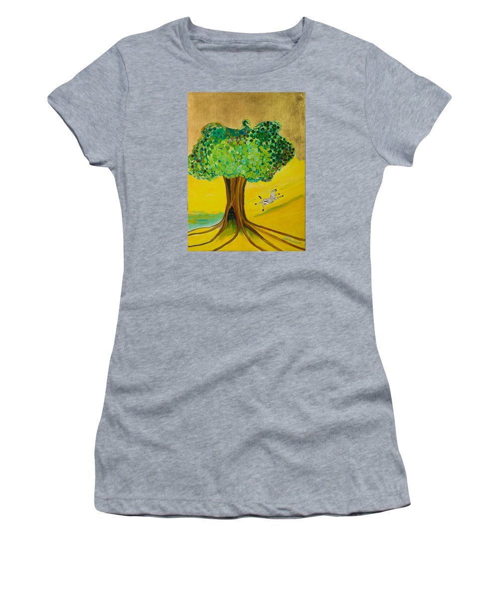 Landscape Women's T-Shirt featuring the painting Happiness by Jarle Rosseland