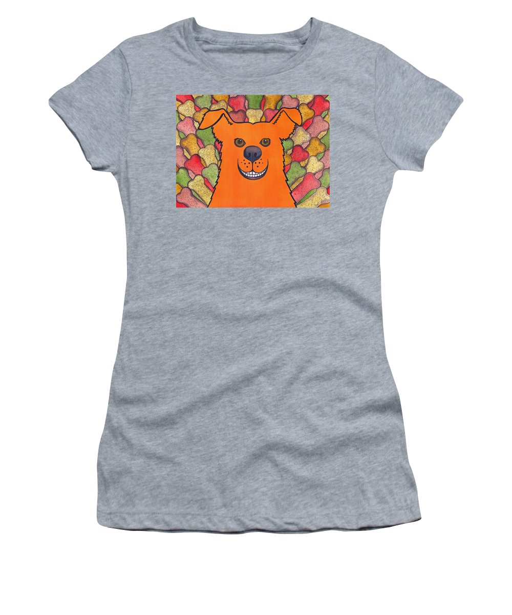 Dog Women's T-Shirt (Athletic Fit) featuring the painting Happy Orange Doggy Dog by Catherine G McElroy