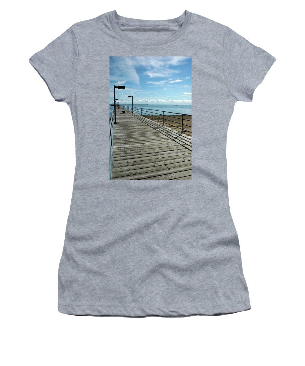 Usa Women's T-Shirt (Athletic Fit) featuring the photograph Harbor Beach Lake Huron Michigan by LeeAnn McLaneGoetz McLaneGoetzStudioLLCcom