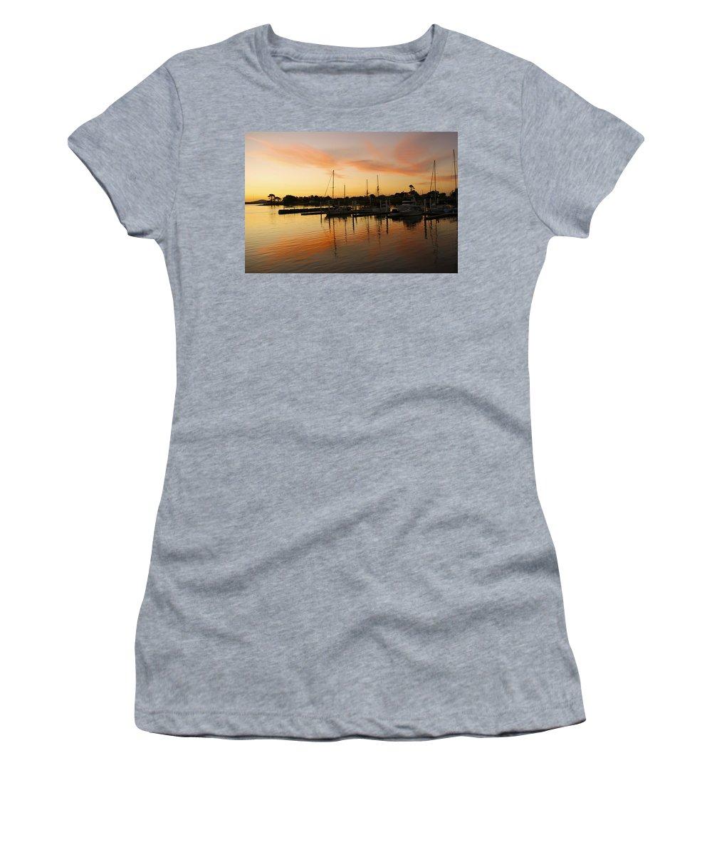 Sunset Women's T-Shirt featuring the photograph Harbour Sun Set by Kathryn Potempski