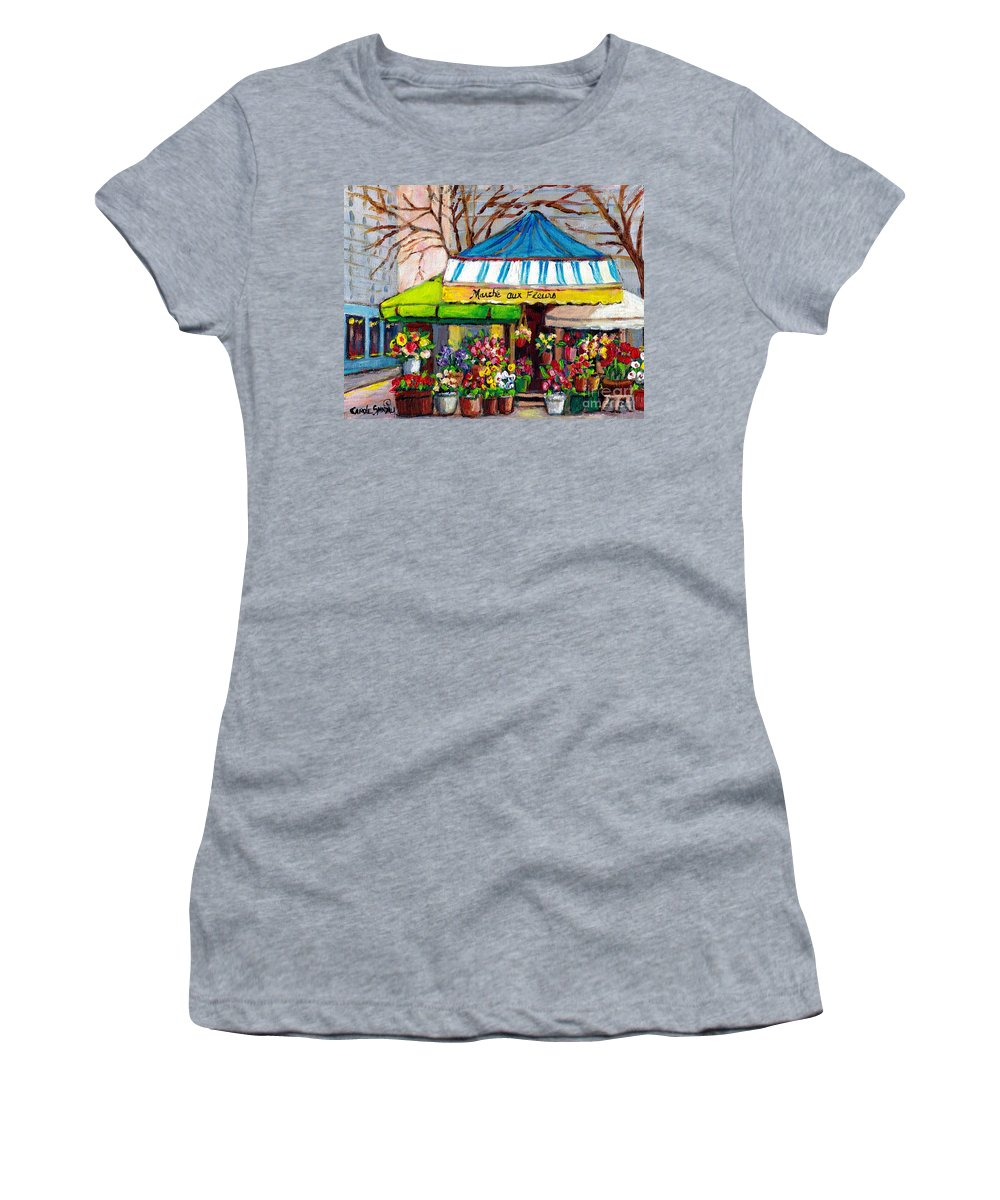 Original Montreal Paintings For Sale Women's T-Shirt featuring the painting Original Art Downtown Montreal Street Scenes For Sale Canadian Paintings Achetez Paysage De Quebec by Carole Spandau