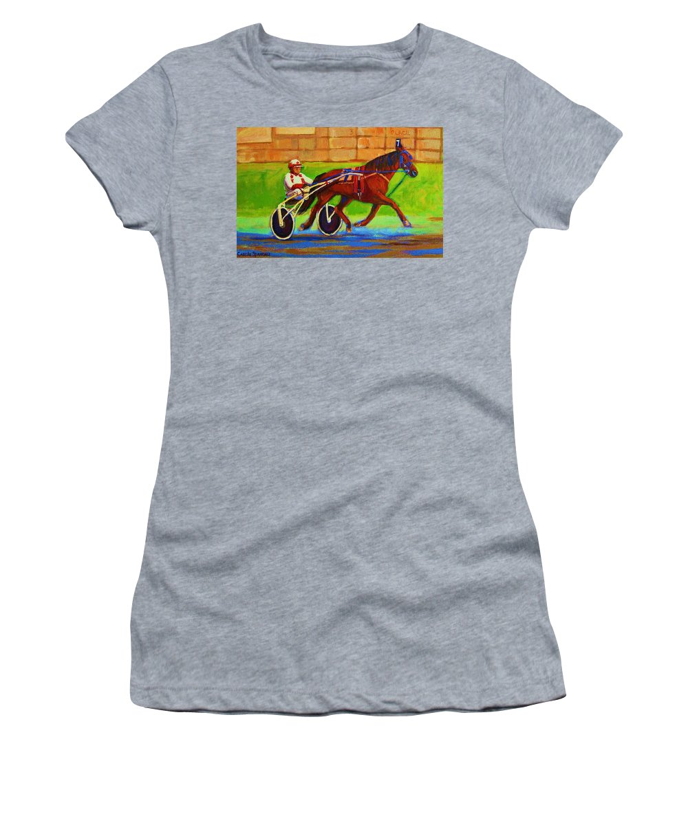 Harness Racing Women's T-Shirt (Athletic Fit) featuring the painting Harness Racing At Bluebonnets by Carole Spandau