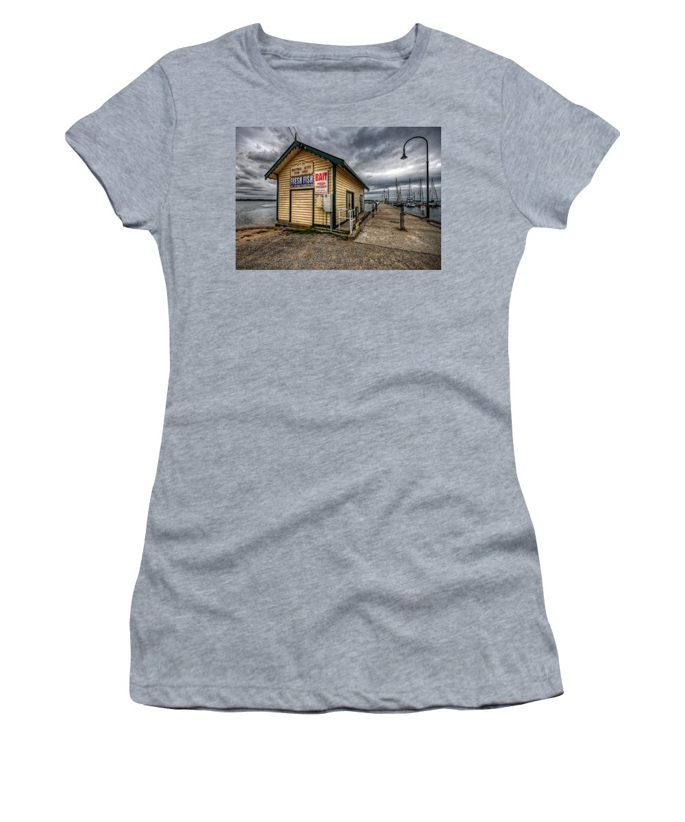 Hastings Women's T-Shirt (Athletic Fit) featuring the photograph Hastings Jetty by Wayne Sherriff