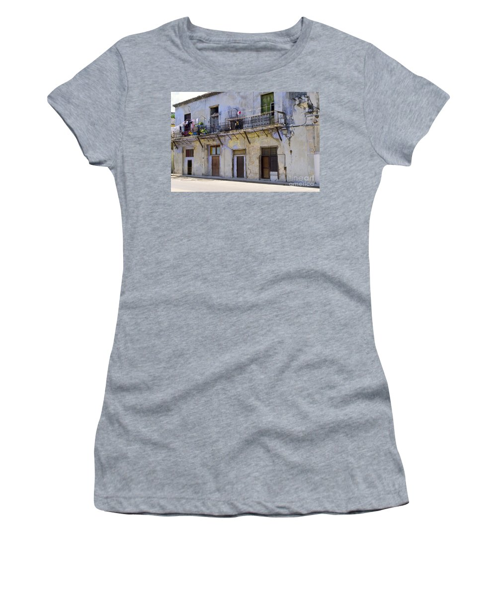 Havana Cuba Apartment Apartments Building Buildings Structure Structures Architecture City Cities Cityscape Cityscapes Window Windows Street Streets Balcony Balconies Door Doors Women's T-Shirt (Athletic Fit) featuring the photograph Havana City Apartments by Bob Phillips
